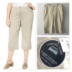 Karen Scott Plus Size Button-Cuff Capri Pant NWT